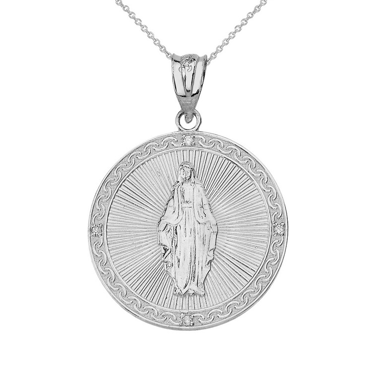 Sterling Silver Mary Mother of Jesus Circle Medallion CZ Pendant Necklace (Small)