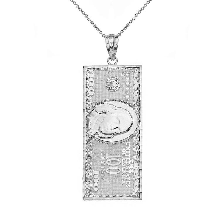 Sterling Silver Benjamin Franklin United States American Hundred Dollar Bill  Pendant Necklace (Medium)
