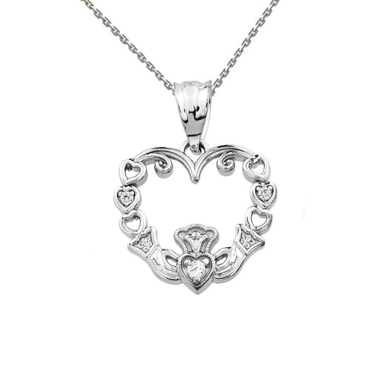 White Gold Diamond Claddagh Open Heart Pendant Necklace