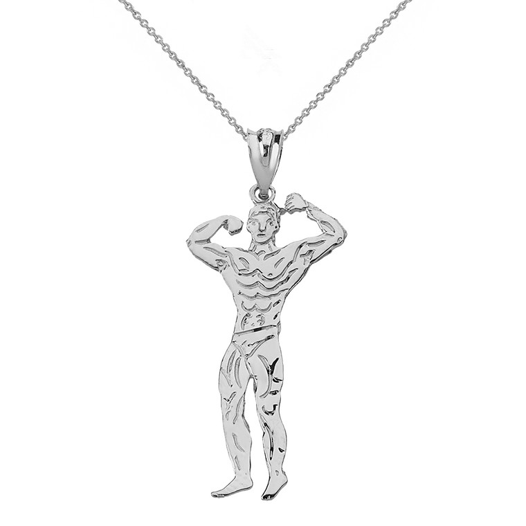 Solid White Gold Weightlifting Fitness Sport Male Bodybuilder Pendant Necklace