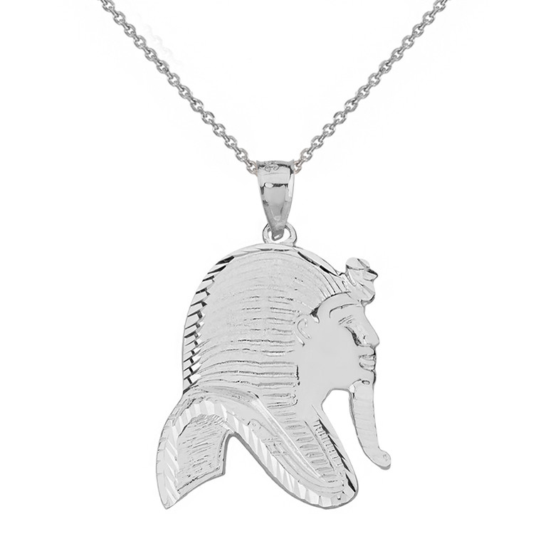 Sterling Silver Egyptian King Tut Profile Pendant Necklace