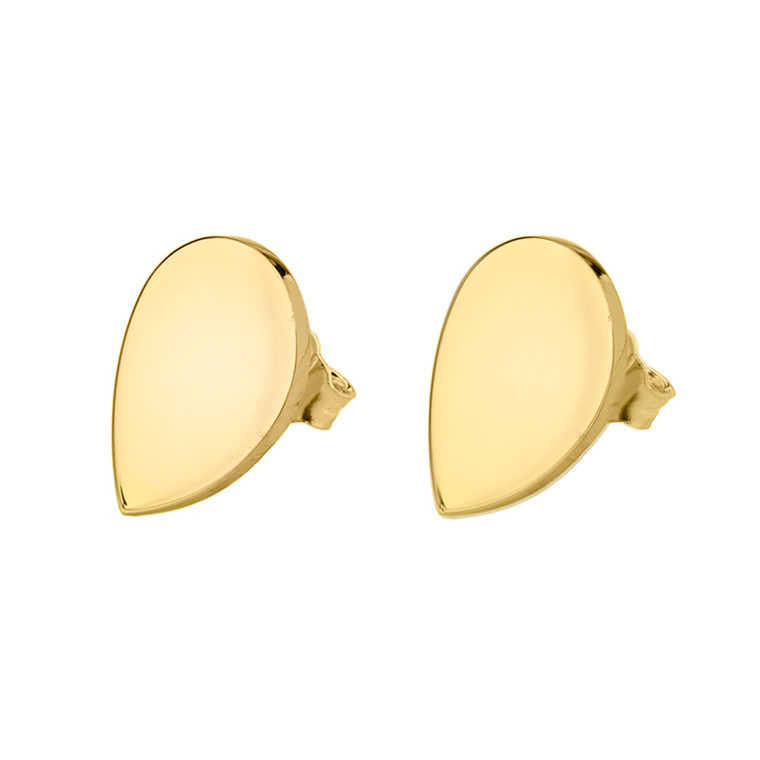 Solid Yellow Gold Simple Tear Drop Earrings