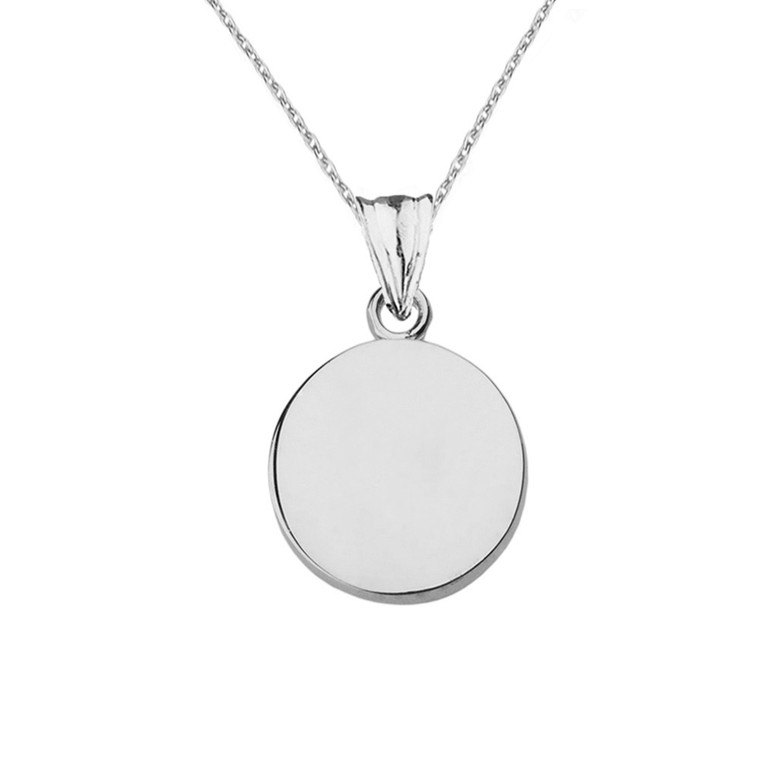 Solid White Gold Simple Round Pendant Necklace