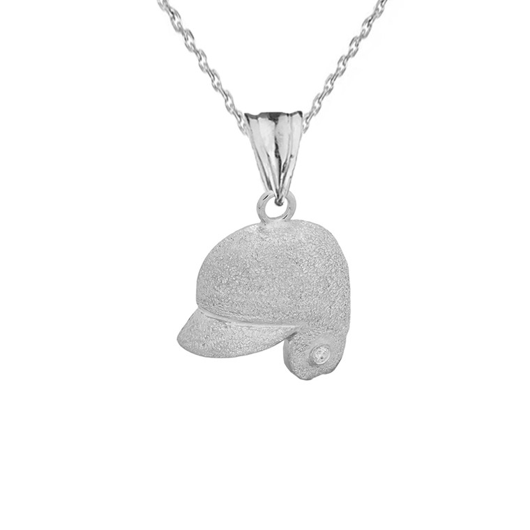Textured Sterling Silver Diamond Baseball Player Helmet Pendant Necklace
