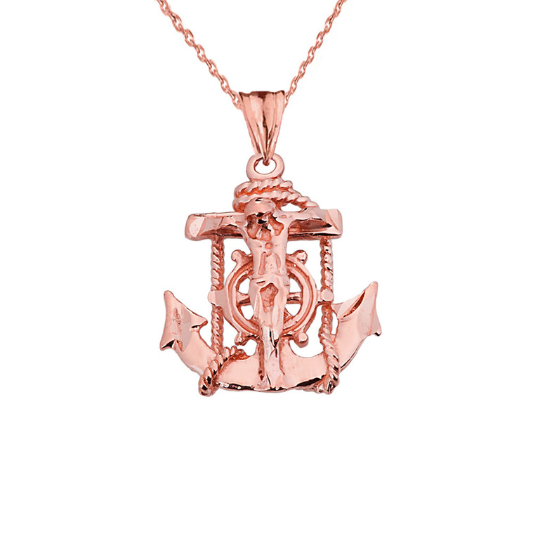 Small Rose Gold Anchor Crucifix Pendant Necklace
