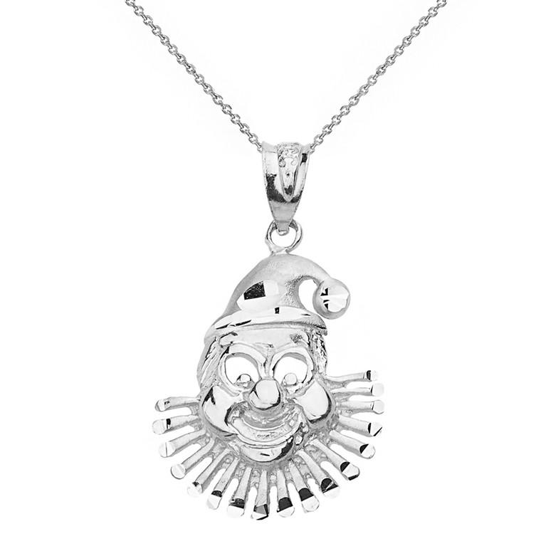Sterling Silver Diamond Cut Clown Pendant Necklace