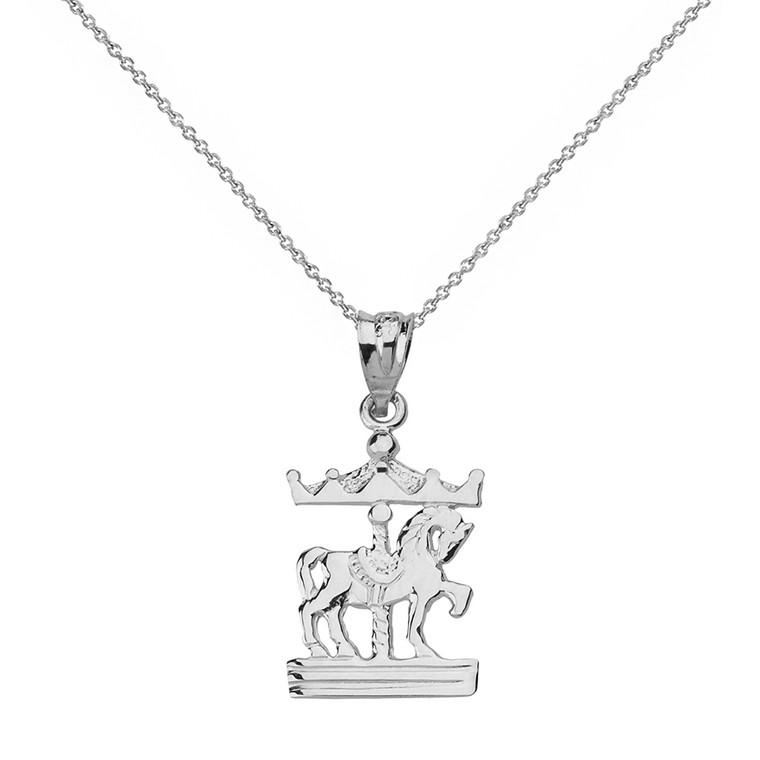 Sterling Silver Horse Carousel Pendant Necklace