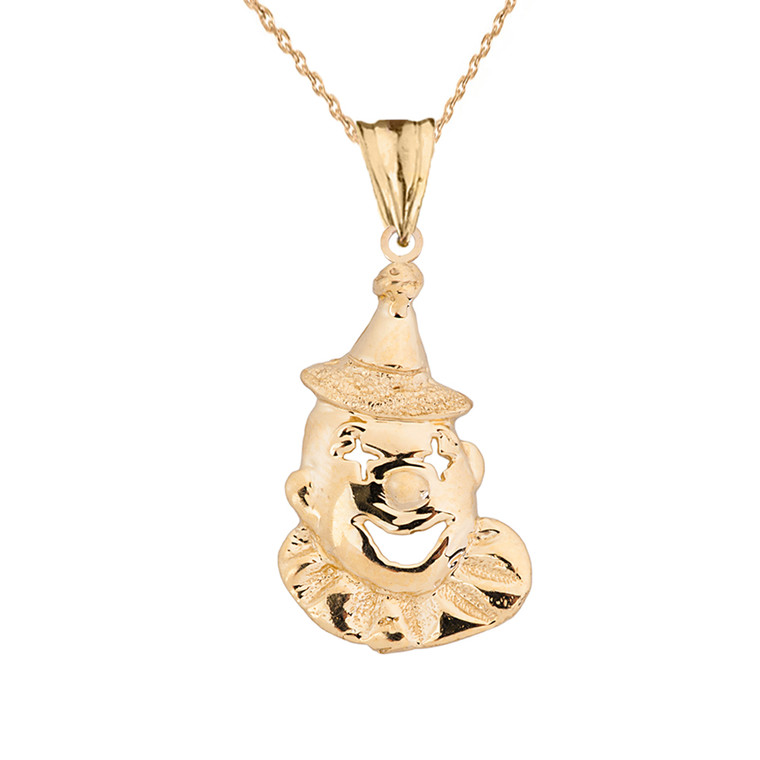 Solid Yellow Gold Clown Pendant Necklace