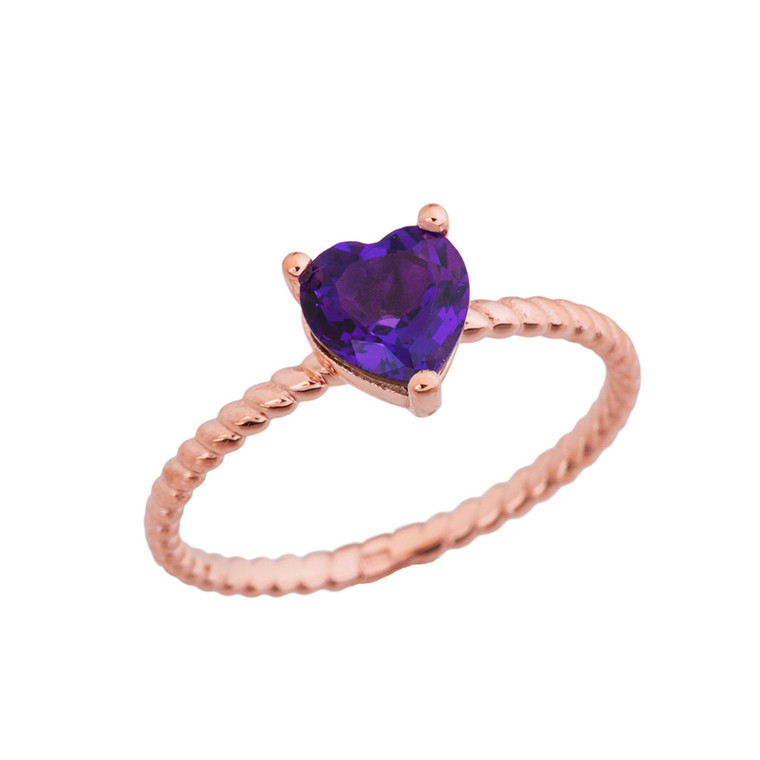 Dainty Genuine Amethyst Heart Rope Ring in Rose Gold