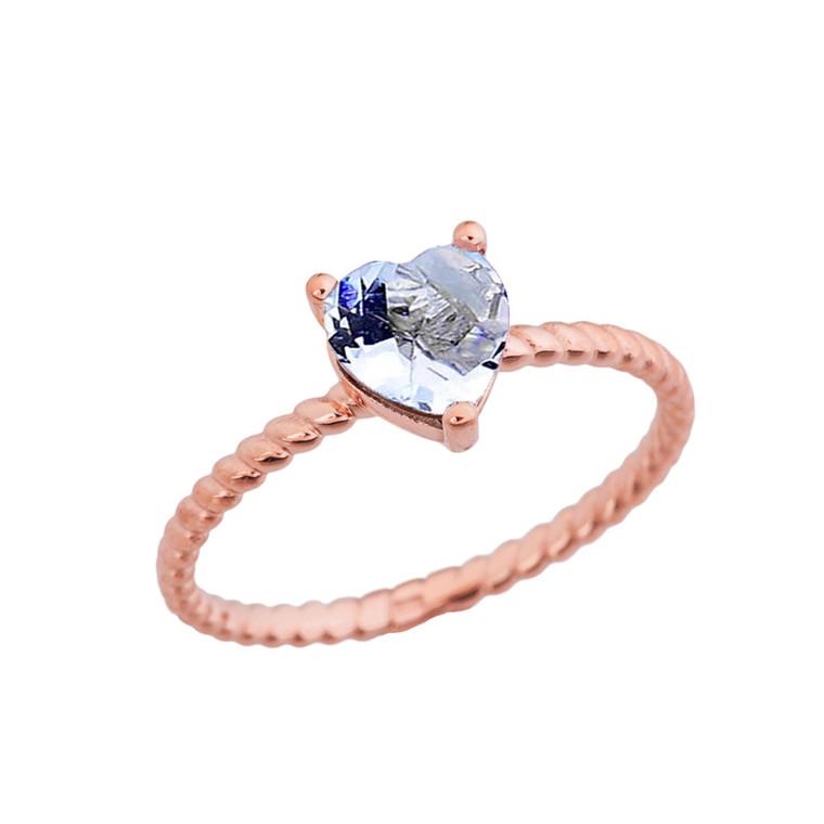 Dainty Genuine Aquamarine Heart Rope Ring in Rose Gold