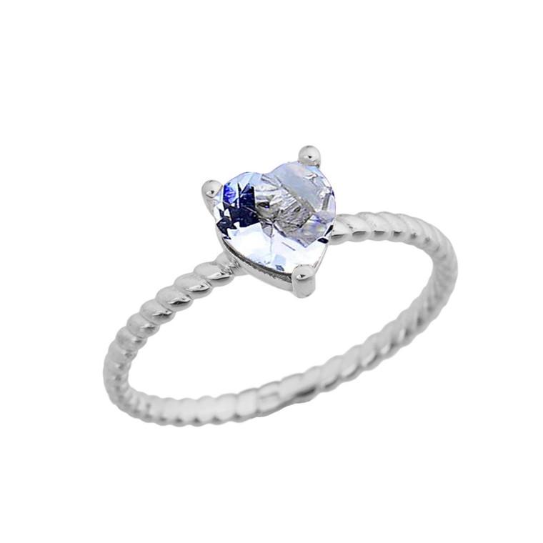 Dainty Genuine Aquamarine Heart Rope Ring in White Gold