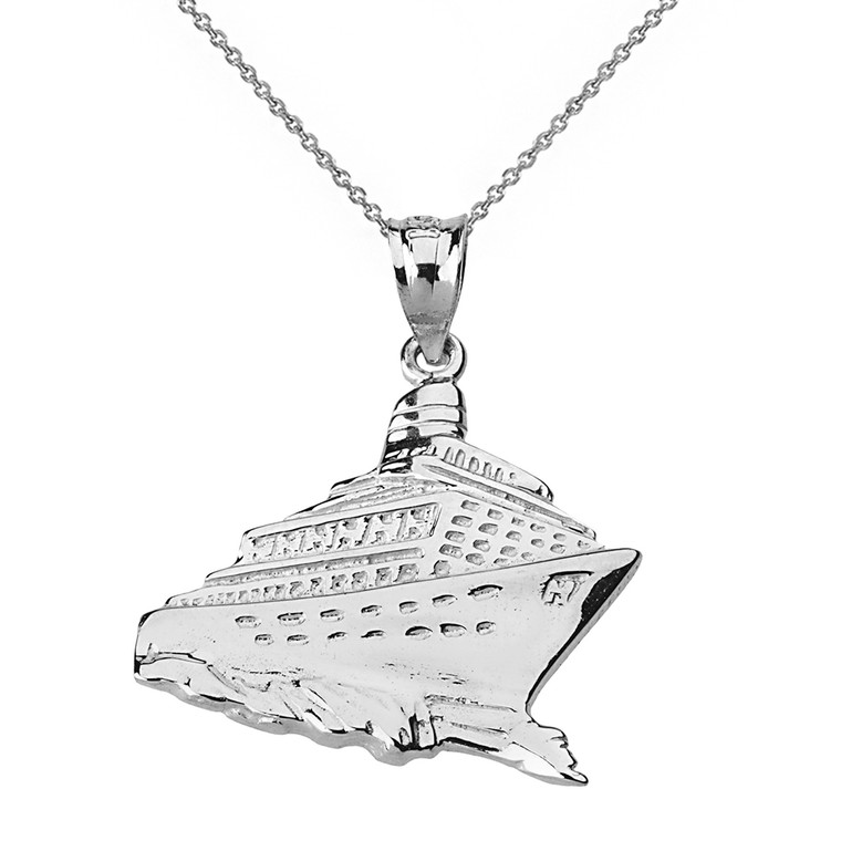Sterling Silver Cruise Ship Ocean Liner Pendant Necklace