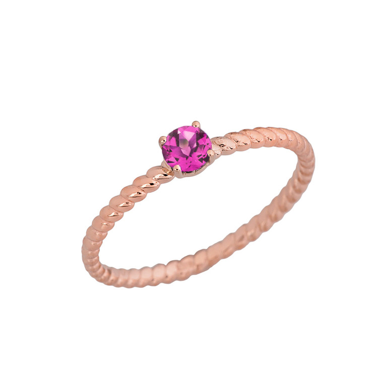 Stackable  Rope Ring With Alexandrite (LCAL)  in Rose Gold
