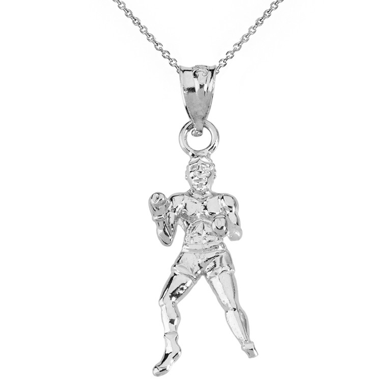 Sterling Silver Fight Sports Athletic Boxing Pendant Necklace