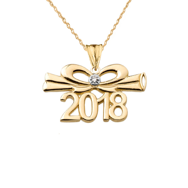 Dainty Diamond 2018 Bow And Diploma Graduation Pendant Necklace In Yellow Gold