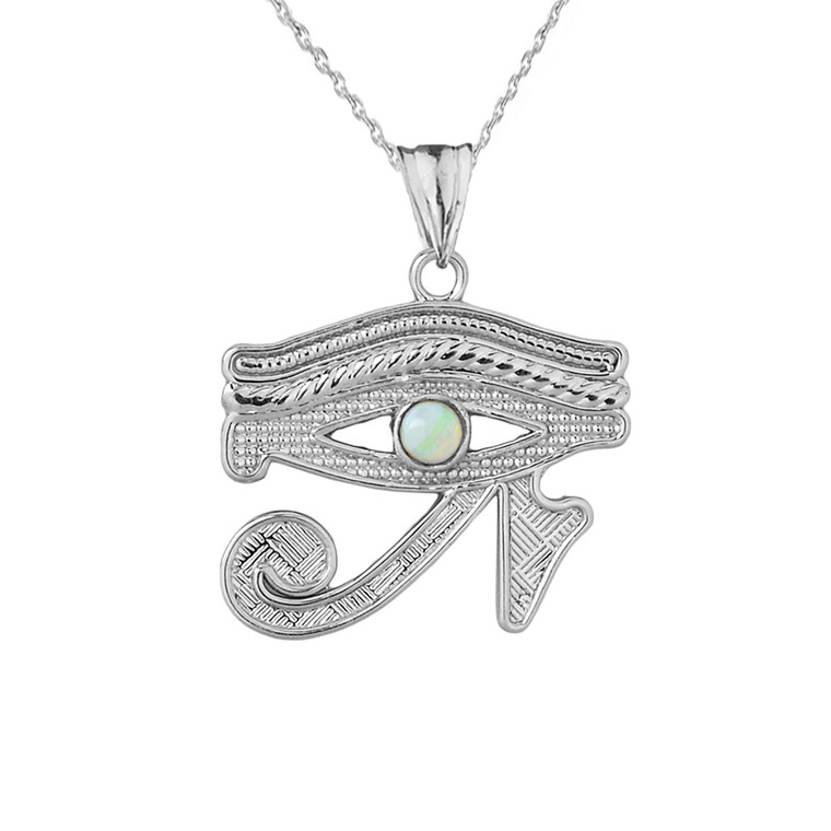Eye of Horus (Ra) with Opal Center Stone Pendant Necklace in Sterling Silver