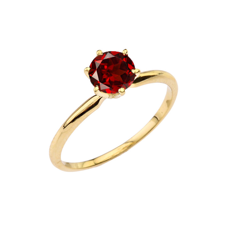 Yellow Gold Garnet  Dainty Solitaire Engagement Ring