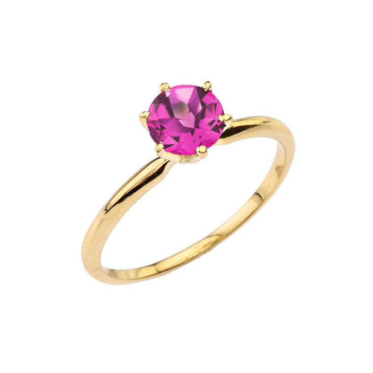 Yellow Gold (LCAL) Alexandrite  Dainty Solitaire Engagement Ring