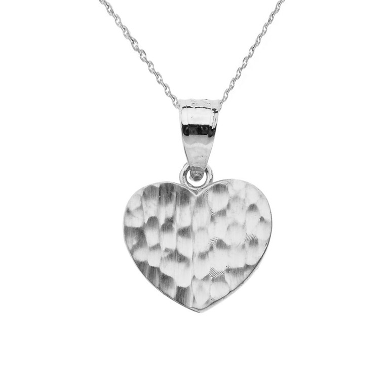 White Gold Hammered Heart Pendant Necklace