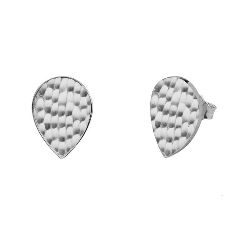 White Gold Hammered TearDrop Stud Earrings