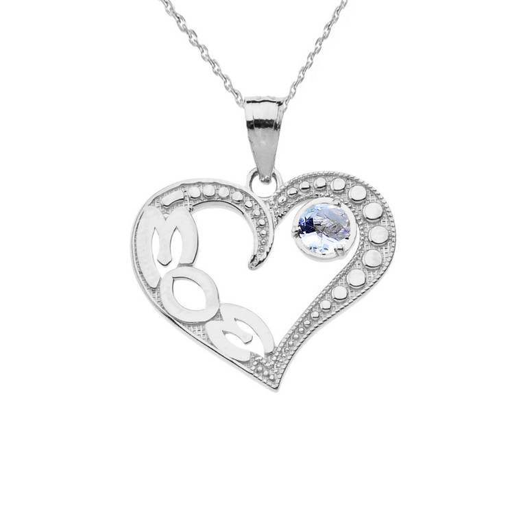 March Aquamarine (LC) 'MOM' Heart Pendant Necklace in Sterling Silver