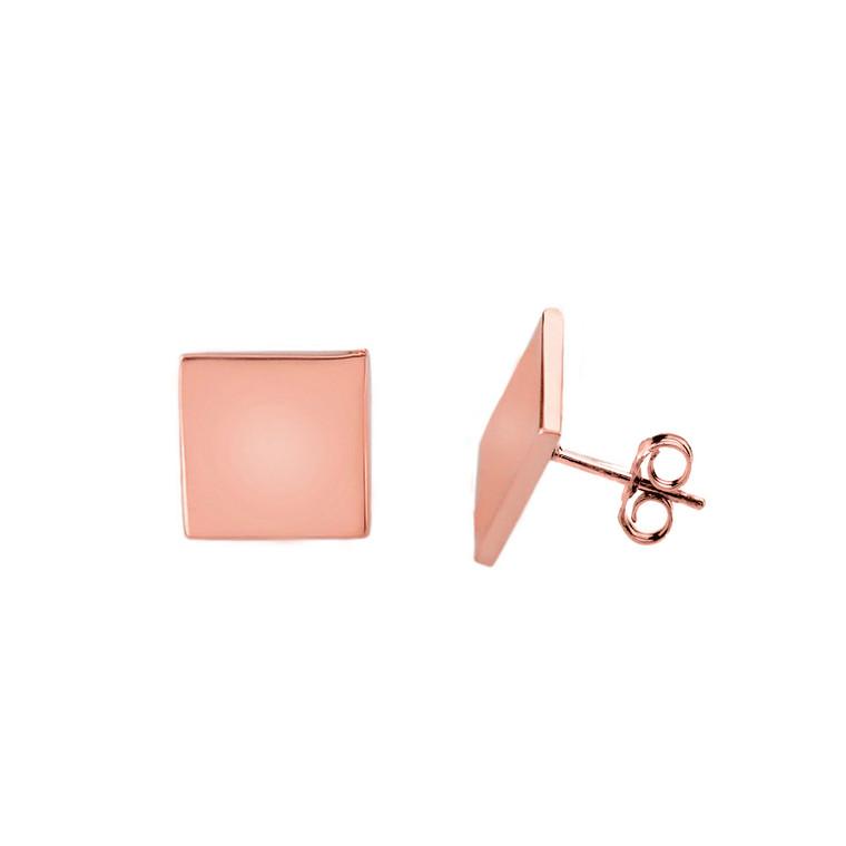 Rose Gold Simple Diamond Shaped Earrings