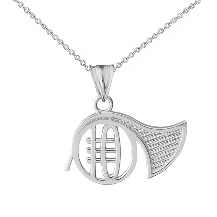French Horn Pendant Necklace in White Gold