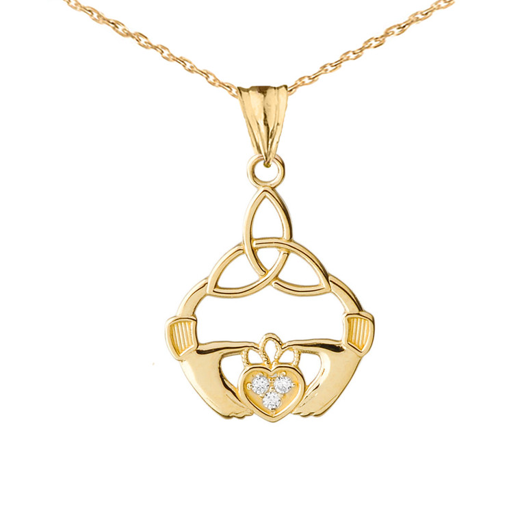 Diamond Trinity Knot Pendant Necklace in Yellow Gold