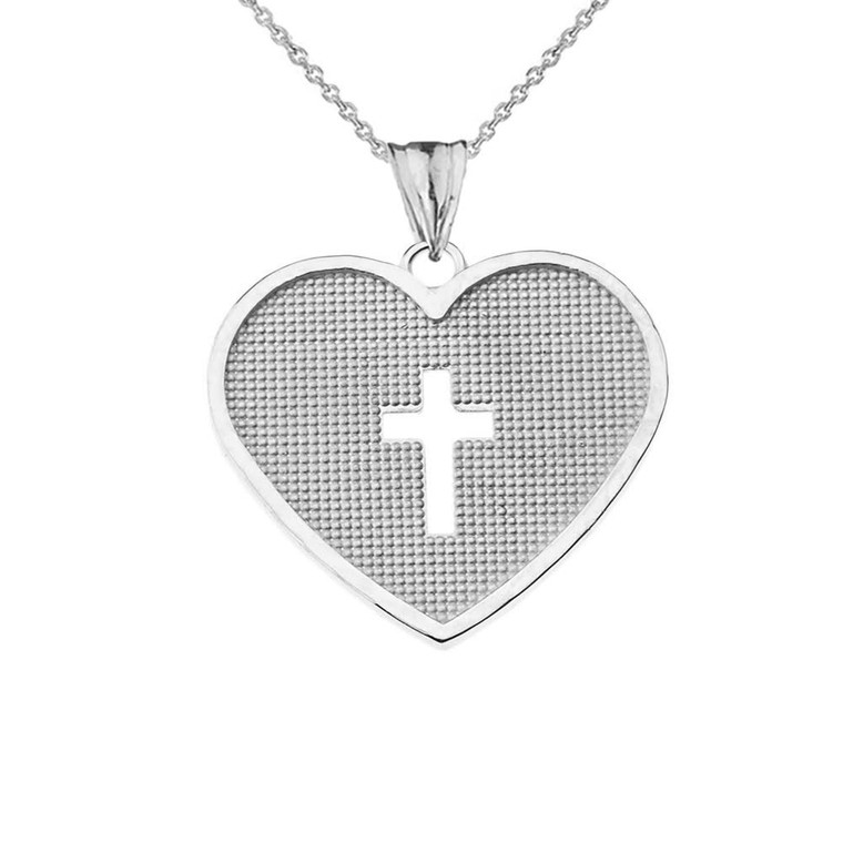 Hammered Heart with Open Cross Pendant Necklace in Sterling Silver