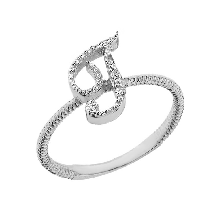 """Sterling Silver Script Initial """"T"""" Stackable CZ Ring"""