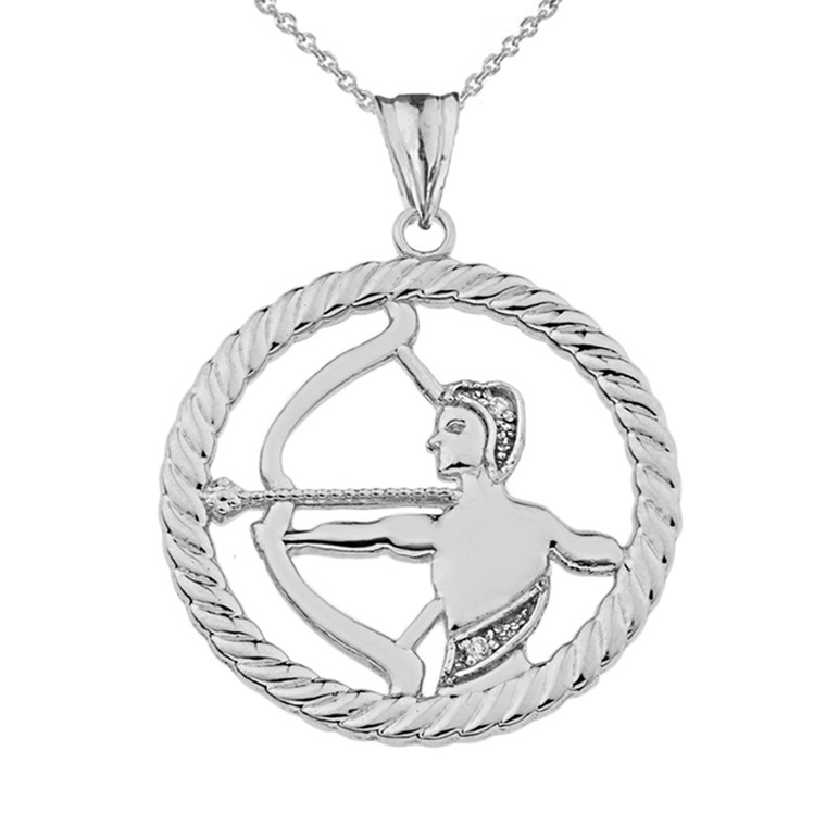 Diamond Sagittarius Zodiac in Rope Pendant Necklace in Sterling Silver