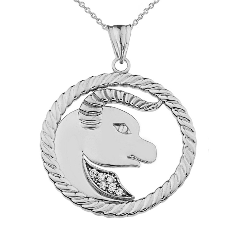 Diamond Taurus  Zodiac In Rope Pendant Necklace In Sterling Silver