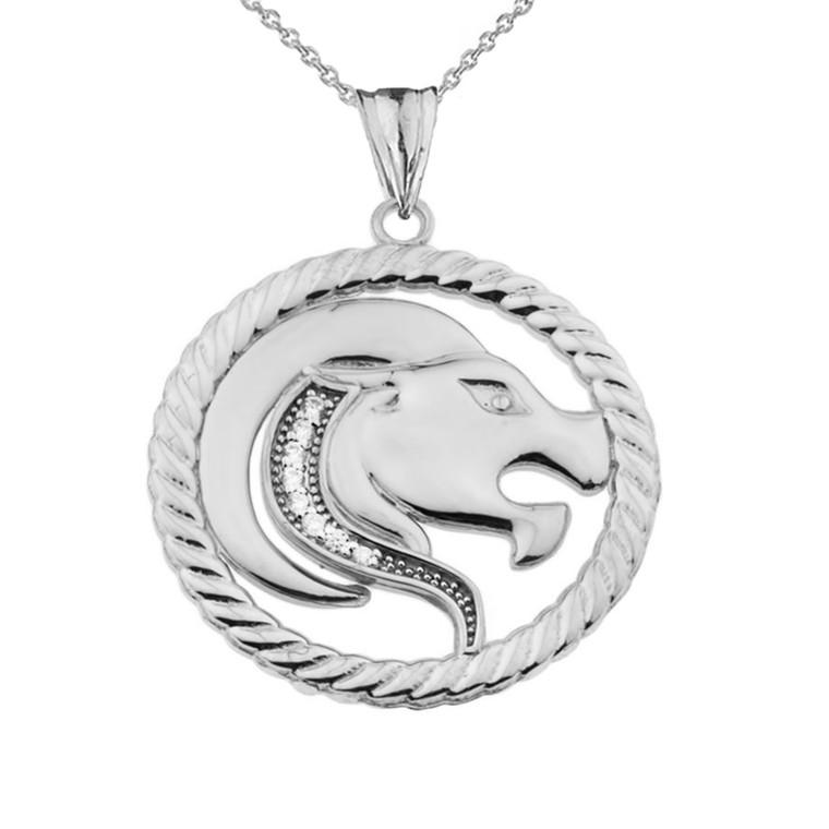 Diamond Leo Zodiac In Rope Pendant Necklace In Sterling Silver