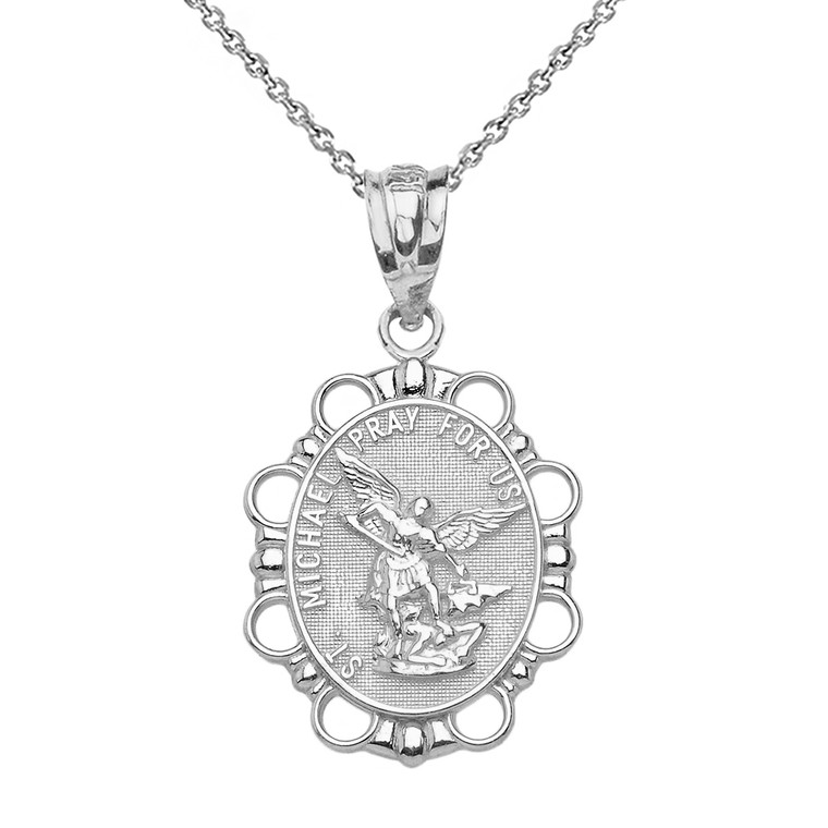 Sterling Silver St. Michael Pendant Necklace