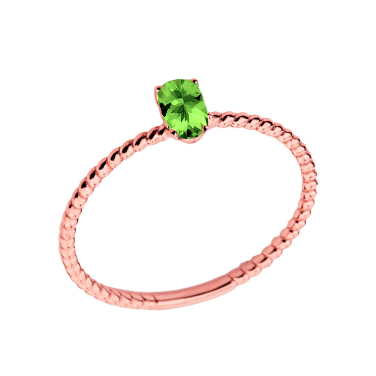 Dainty Genuine Peridot Oval Rope Ring in Rose Gold