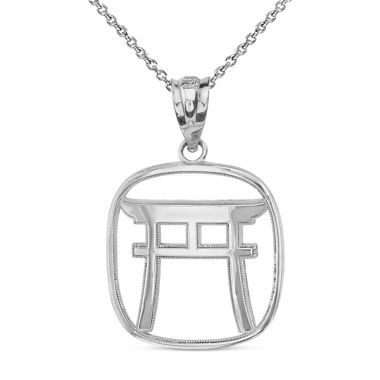 Sterling Silver Torii Gate Japanese Symbol Shinto Shrine Pendant Necklace