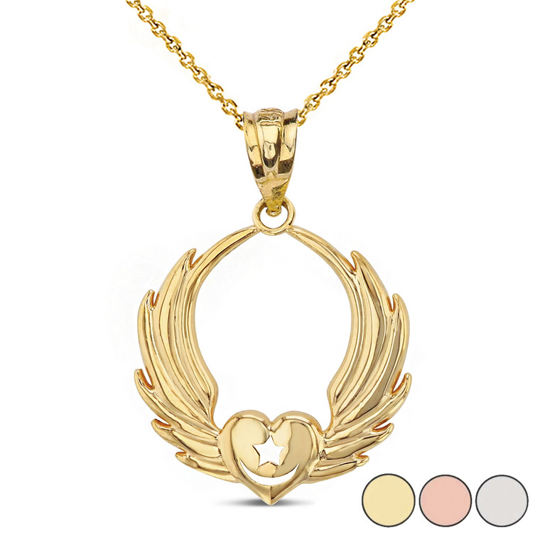 Winged Heart with Star & Crescent Islam Sufi Order Pendant Necklace in Solid Gold (Yellow/Rose/White)