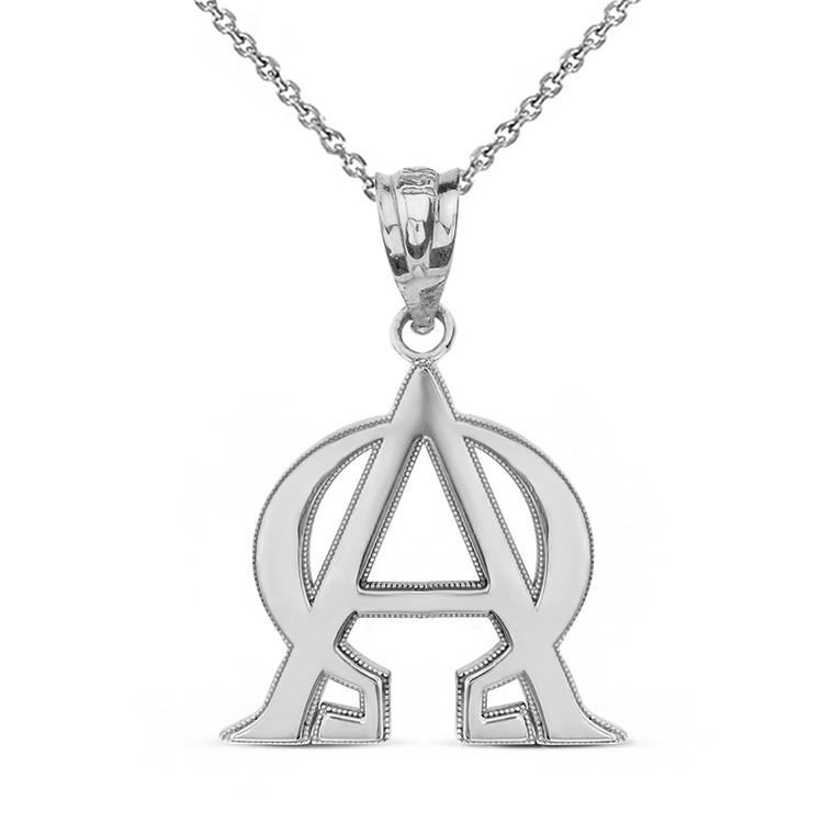 Sterling Silver Christian Alpha and Omega Jesus Christ Symbol Pendant Necklace