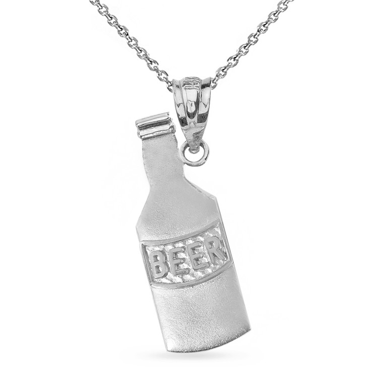 Solid White Gold Beer Lovers Beer Bottle Pendant Necklace