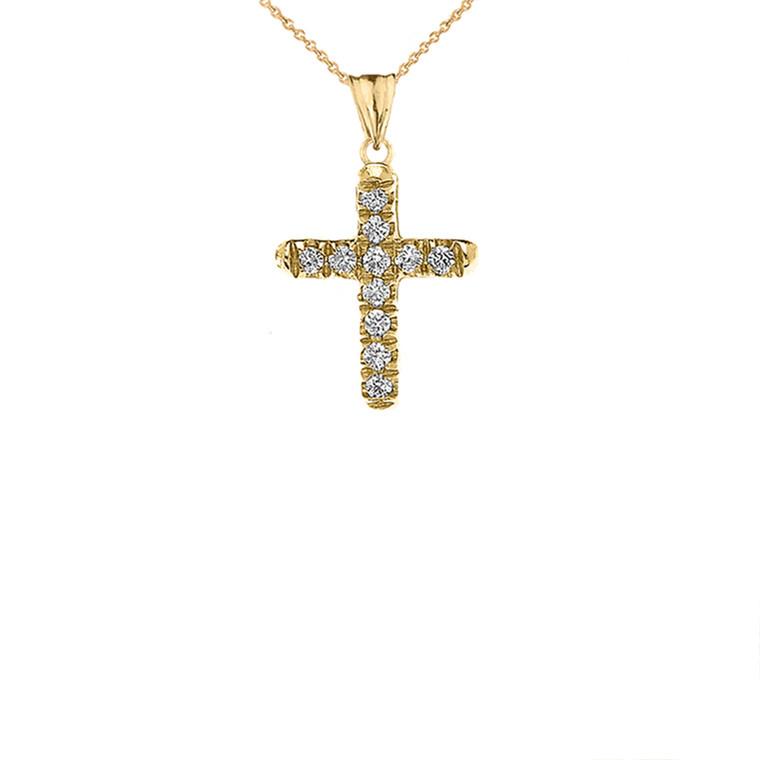 Mini Elegant Diamond Cross Pendant Necklace In Yellow Gold