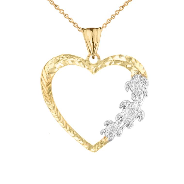 Hawaiian Honu Turtles  Heart Pendant Necklace in Two-Tone Yellow Gold