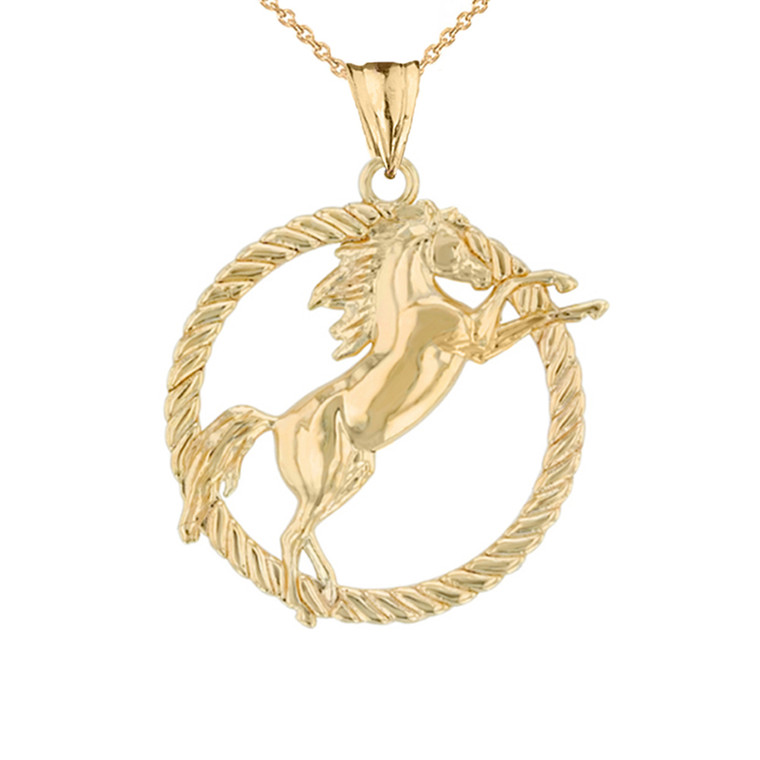 Stallion Horse Rope Pendant Necklace in Yellow Gold