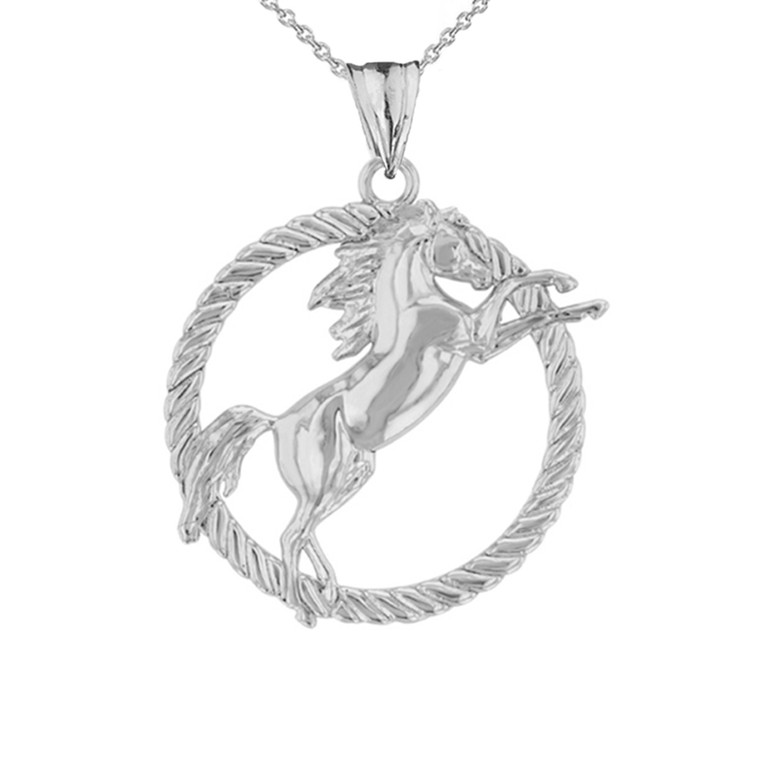 Stallion Horse Rope Pendant Necklace in White Gold