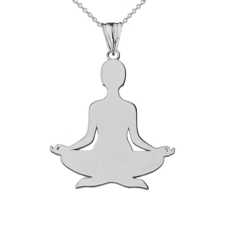 Meditating Silhouette Yogi Pendant Necklace in White Gold