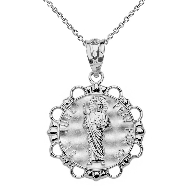Sterling Silver Round Saint Jude Pendant Necklace