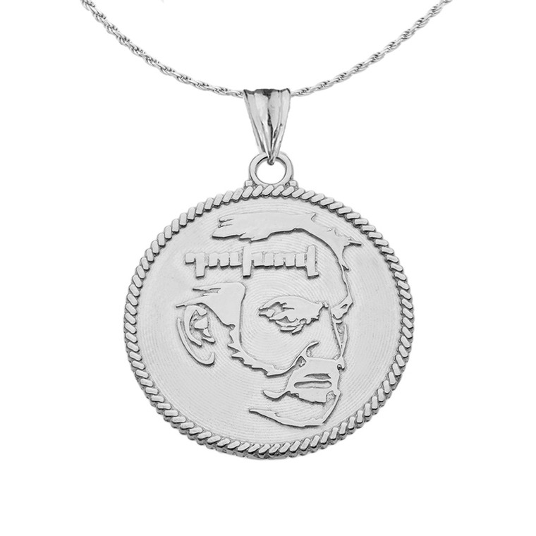 """Two-Sided """"Duxov""""and Armenian Eternity Symbol Pendant Necklace in Sterling Silver"""