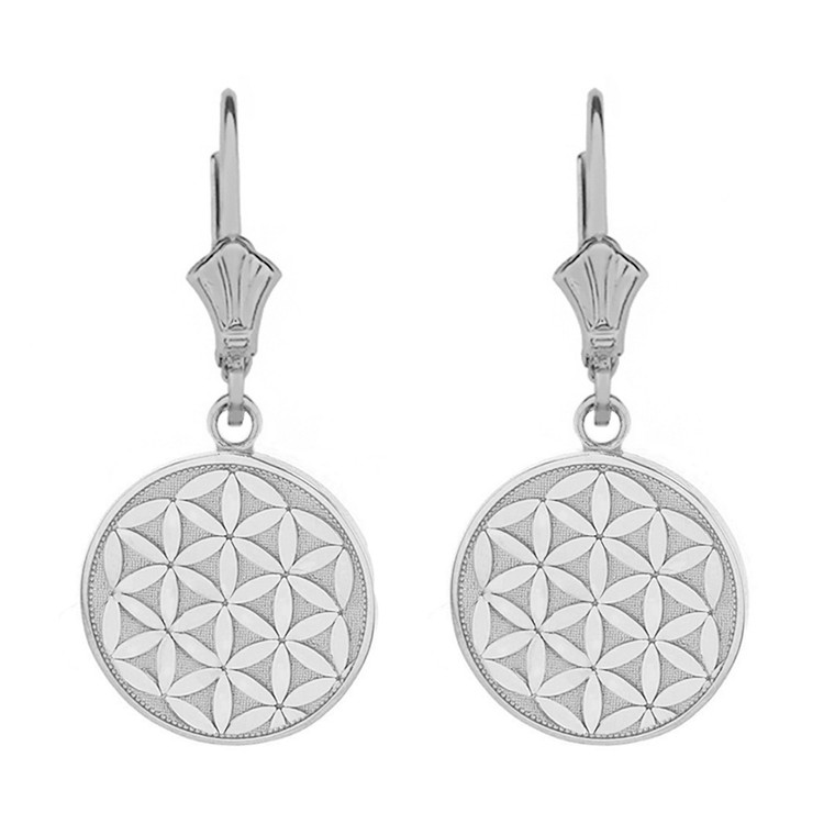 Sterling Silver Flower of Life Dainty Disc Earring Set