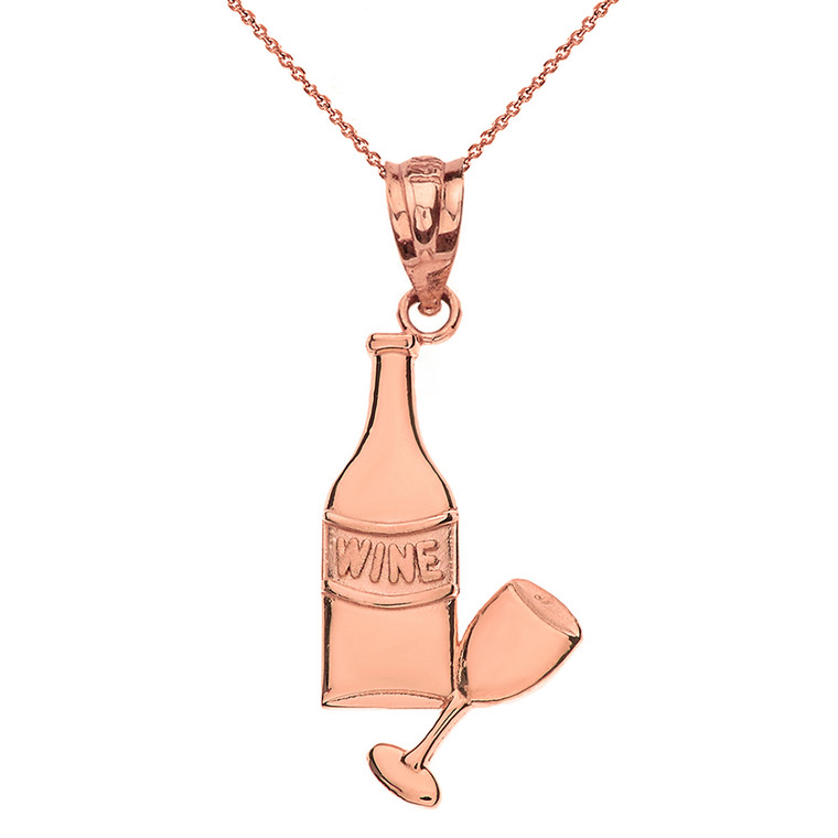 Solid Rose Gold Wine Bottle and Glass Pendant Necklace