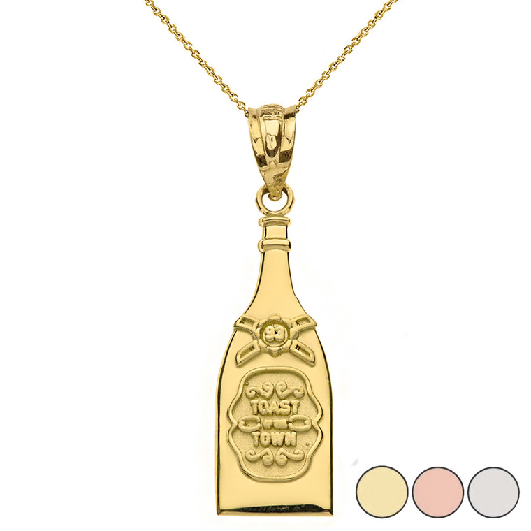 Toast of The Town Champagne Bottle Pendant Necklace in Gold (Yellow/Rose/White)