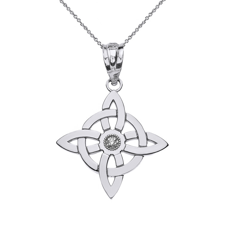 Solid White Gold Single Diamond Wiccan Witch's Knot Pagan Pendant Necklace